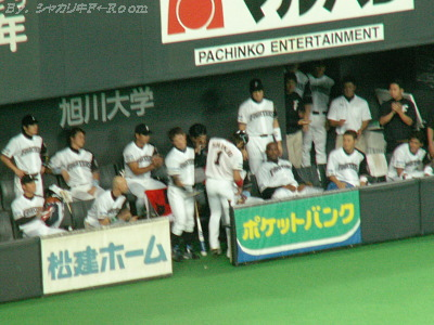 最後の打席から戻ったツヨシを、温かく迎えるベンチの選手達。