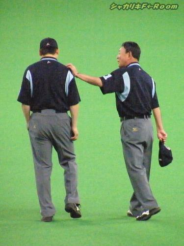 マニアの為の、1塁審・林さんに慰めを受けるの図。