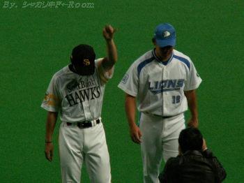 コーチャーをする為に札幌に来た?球界の左右のエース・杉内&松坂