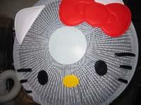 キティちゃんの顔の扇風機カバー