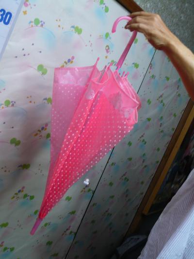 ピンク傘と父の手