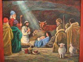 油彩 イエス降誕