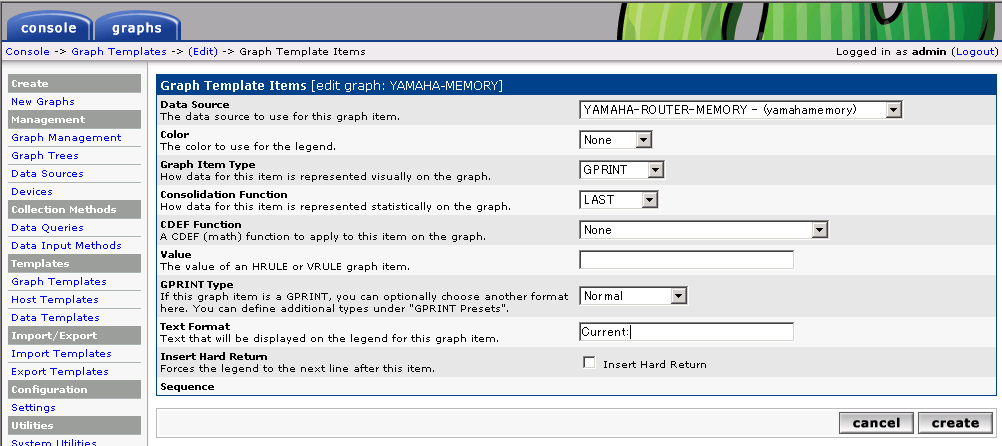 cactiでrtx1000を監視する サーバ管理記録