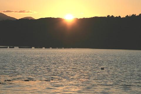 東大沼キャンプ場から夕日