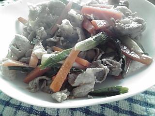 豚肉と葉ニンニク炒め