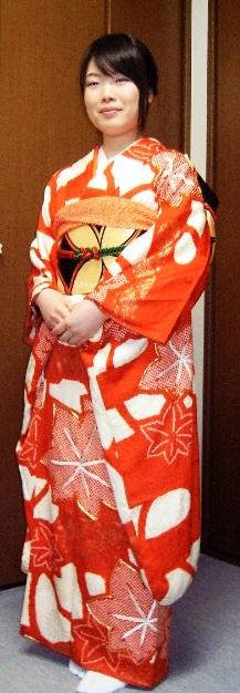 振袖貸衣装紅白 群馬県高崎市花がたみ着付教室