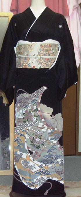 黒留袖着付け込み貸衣装例 群馬県高崎市花がたみ着付教室