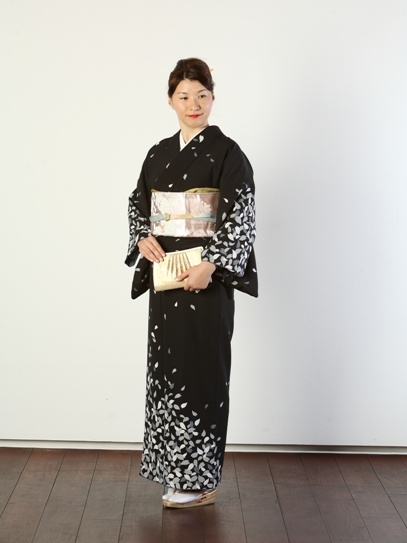 訪問着貸衣装夜桜 群馬県高崎市花がたみ着付教室