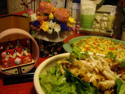 ちらし寿司、チキンのサラダ