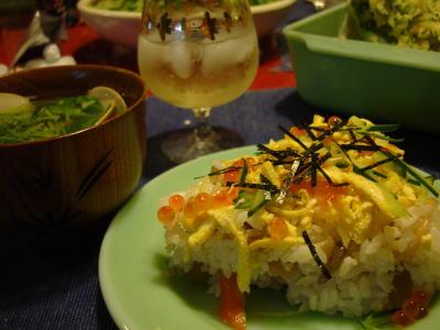 ハマグリお吸い物、ちらし寿司、天ぷら