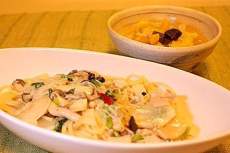 パスタとスープの夕飯♪