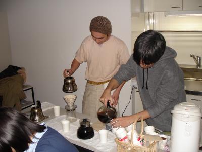 講演会でコーヒー