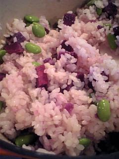 紫芋と枝豆ご飯