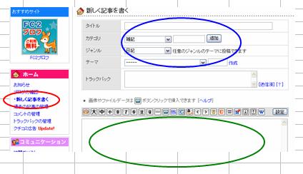 ブログの管理画面