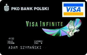 pko銀行(ペカオと読む。ポーランド二大銀行のひとつ)発行のVisa Infinite カード。Visa Infinite カードは一般的に背景はブラック、