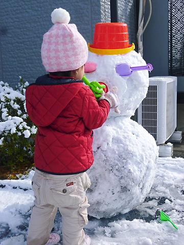 雪だるま作成中