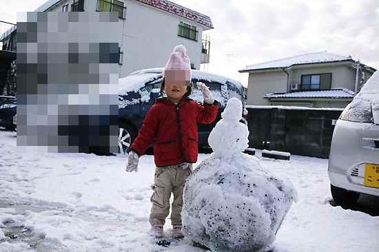 雪だるまと撮影