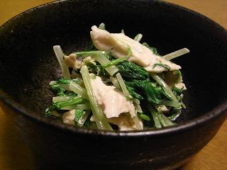 水菜と鶏肉のわさびマヨネーズ和え