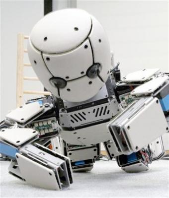 """試行錯誤しながらハイハイのような動きを学習できる赤ちゃん型ロボット「M3-neony(エムスリー・ネオニー)」を、大阪大大学院の浅田稔教授らの研究グループが開発し、大阪市内で3日公開した。目や耳に相当する左右一対のカメラとマイク、90個の触覚センサーを備え、外部からの刺激を取り入れて""""学習""""できるのが特徴だ。"""