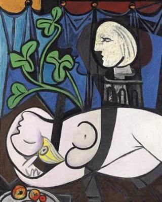 パブロ・ピカソの油絵「ヌード、観葉植物と胸像」(