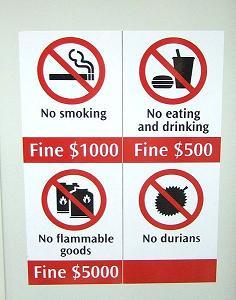 電車の中でアメを食べたら罰金!