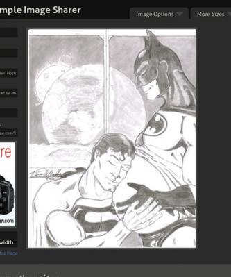 バットマンが妊娠していて、スーパーマンがその膨らんだおなかに耳を傾けている姿が描かれているのだ。しかも2人は月面にいるという不可解な構図。作者は一体何を描こうとしたのだろうか