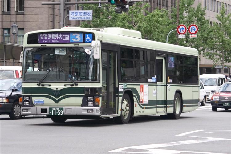 京都市バス 京都200か1159 いすゞPJ-LV234N1