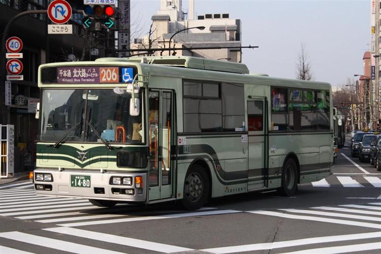 京都市バス 京都200か1480 日野PJ-KV234L1(ワンステ)