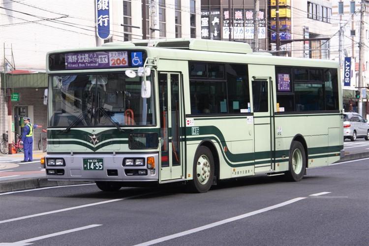京都市バス 京都200か1495 日野PJ-KV234L1(ワンステ)