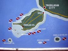 これダイブサイトマップ!こんな小さい島でも見所たくさんあるようです