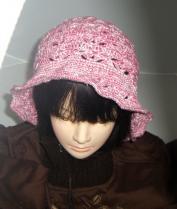 帽子1 春夏用 ピンクと白の松編み??