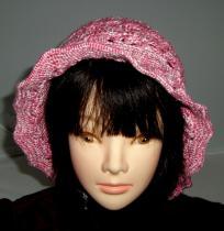 帽子2 春夏用 ピンクと白の松編み??