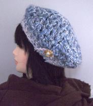 帽子6 ブルーのベレー帽 ボタン飾りA
