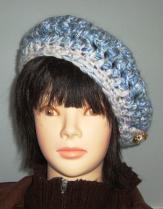 帽子6 ブルーのベレー帽 ボタン飾りC
