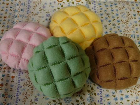 フェルト手芸 定番パン メロンパン 4種類