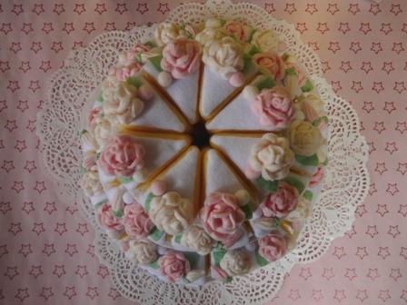フェルト手芸 ウェディングケーキ 3段 3