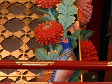 彩色彫刻黒漆塗屋台 8
