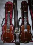 new and old ukeulele cases and takahashikun and nakanishikun in them