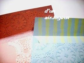 手作り封筒レースブルー&ピンク2