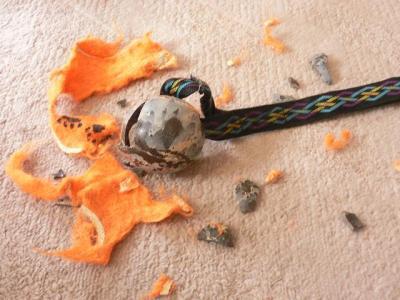 破壊されたぶんぶんボール