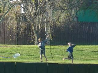 裏庭で凧揚げ子供2人