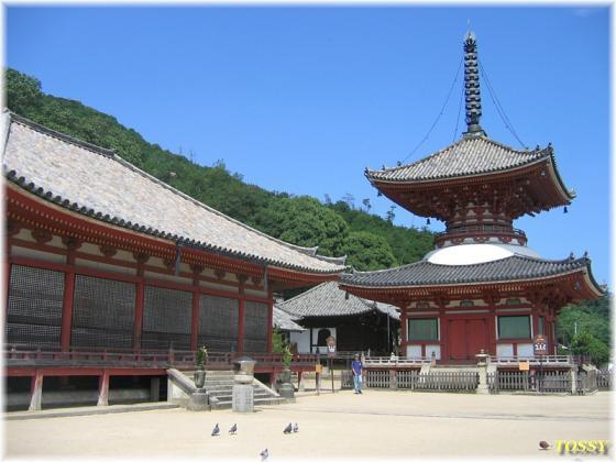 国宝多宝塔と重文阿弥陀堂