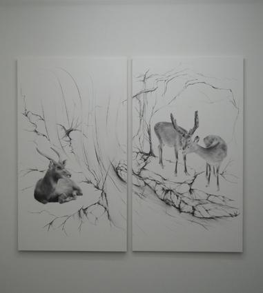 市川裕隆「花鳥図Ⅴ-壱・弐」