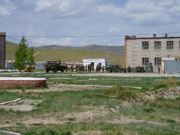 宿舎の前の海兵隊