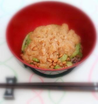 ニガウリ納豆丼1