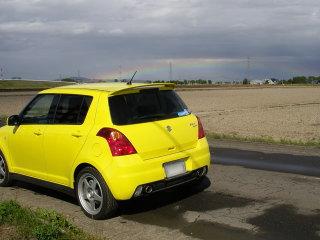 ドライブ中に虹を発見したわけで。偶然にも。