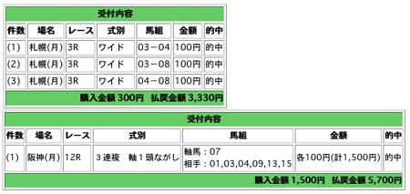 070917札幌阪神アタリ馬券例