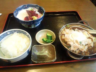 Bセット 刺身付き 豚肉鍋定食 800円