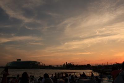 夕日とアクアマリン