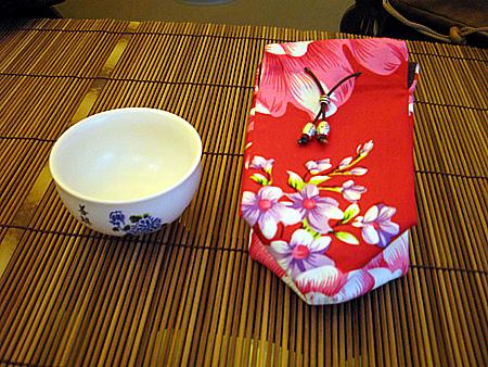 客家花布の茶杯用巾着袋